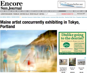 Headline in the Sun Journal about the exhibits in Tokyo and Portland
