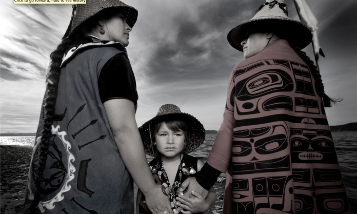 Darkfeather, Bibiana and Eckos Ancheta from the Tulalip Tribe Photograph: Matika Wilbur